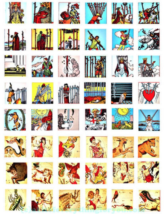 """vintage tarot card zodiac signs art clipart digital download collage sheet 1"""" inch squares graphics images printables diy jewelry making"""