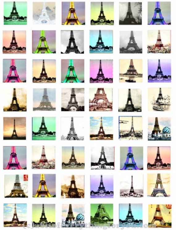 """vintage paris france eiffel tower images clipart digital download collage sheet 1"""" inch squares images printables diy jewelry making"""