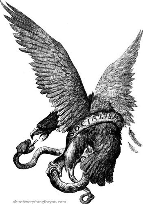 eagle snake political vintage art clipart png jpg download digital animal image graphics digital illustration