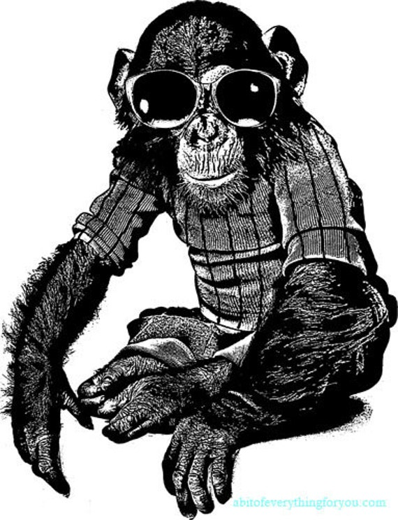 monkey wearing glasses shirt clipart png printable art download digital image graphics animal digital prints childs nursery room decor