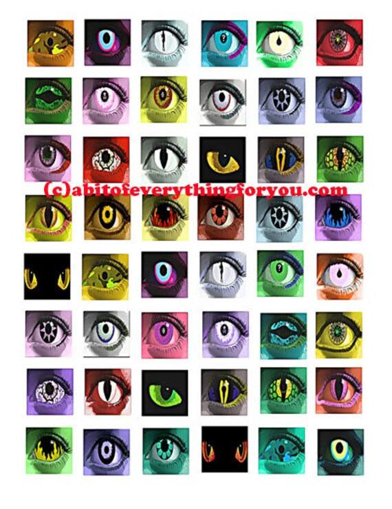 """greep evil creature eyes printable collage sheet monsters zombies art clipart digital download  1"""" inch squares graphics images pendants"""