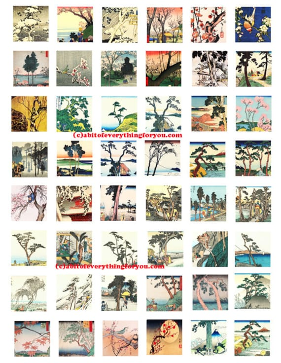 """trees landscape printable collage sheet japanese woodblocks art clipart digital download  1"""" inch squares graphics nature images pendants"""