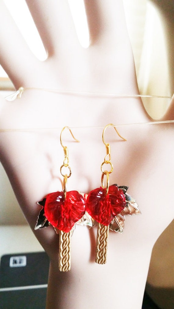 red and gold leaf drop earrings sequins charms handmade nature jewelry