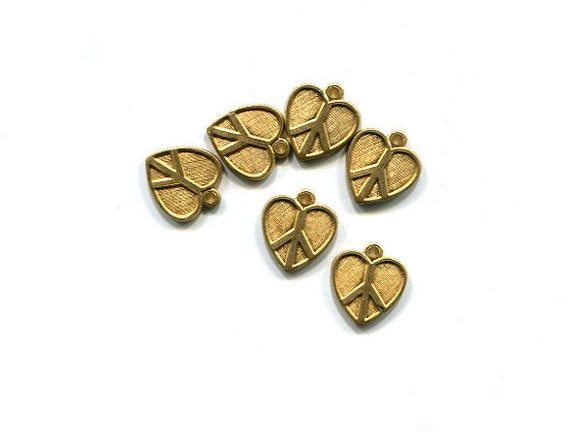 6 vintage peace sign heart charms gold brass metal 10mm jewelry supplies