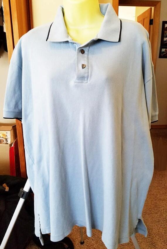 mens light blue shirt short sleeves golf polo sport collar neck size XL 90s clothes