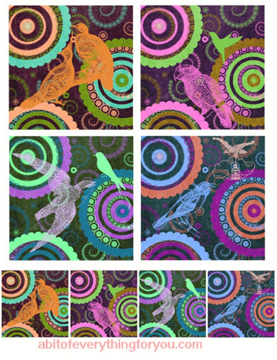 mandallas and birds printables art clipart digital downloadable collage sheet 3.8 inch squares images DIY Crafts scrapbooking