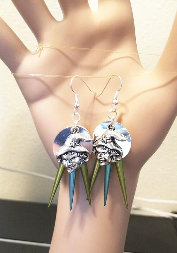 silver witch face chandelier halloween earrings blue green spikes fantasy fairytale goth handmade jewelry