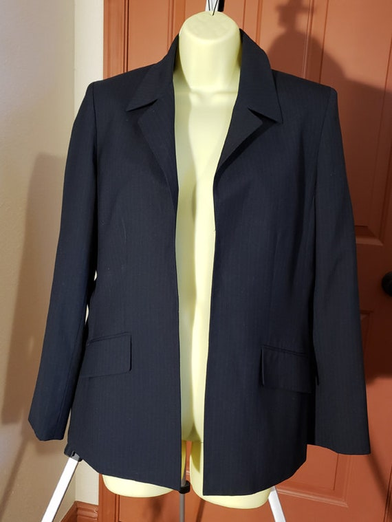 dark blue pin stripe blazer top womens size 8 medium business clothes Kasper Classics