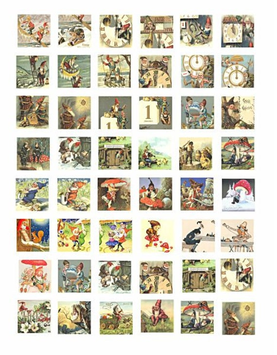 downloadable collage sheets gnomes elves dwarf fairytale art clipart digital download 1 inch squares postcard graphics images printables