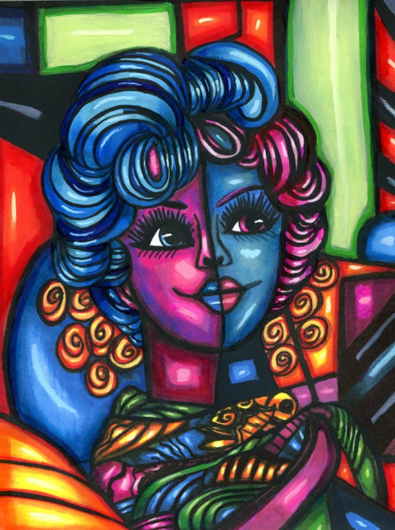 abstract original art painting Miss FancY woman face colorful modern artwork Elizavella