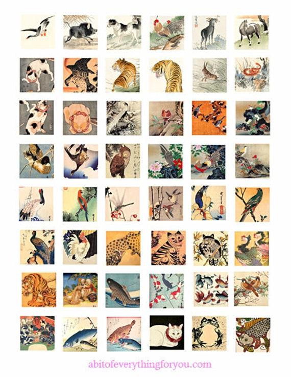 vintage animal nature paintings art collage sheet digital download 1 inch squares graphics japanese art images printables pendants bezels