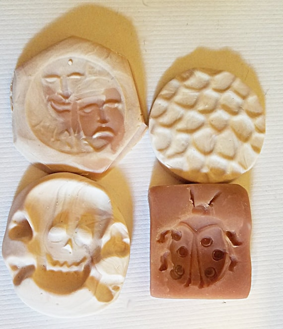 4 polymer clay molds for jewelry making pendants skull faces ladybug handmade