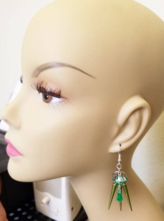 green flower bead drop earrings dangles spike charms handmade plastic beaded jewelry