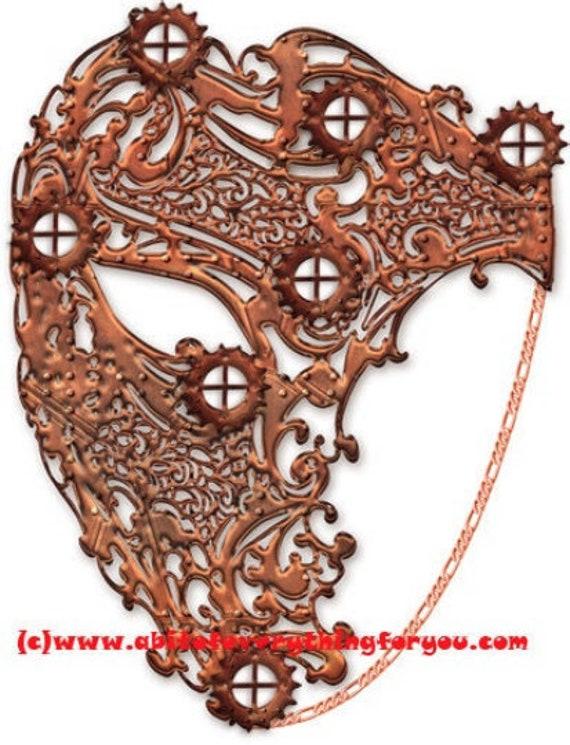 steampunk copper filigree masquerade mask clipart png mardi gras Digital instant Download printable art Image graphics venetian masks craft