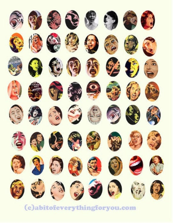 vintage screaming women collage sheet horror movies 18mmx25mm oval pulp clipart digital downloadable printable images DIY Jewelry making