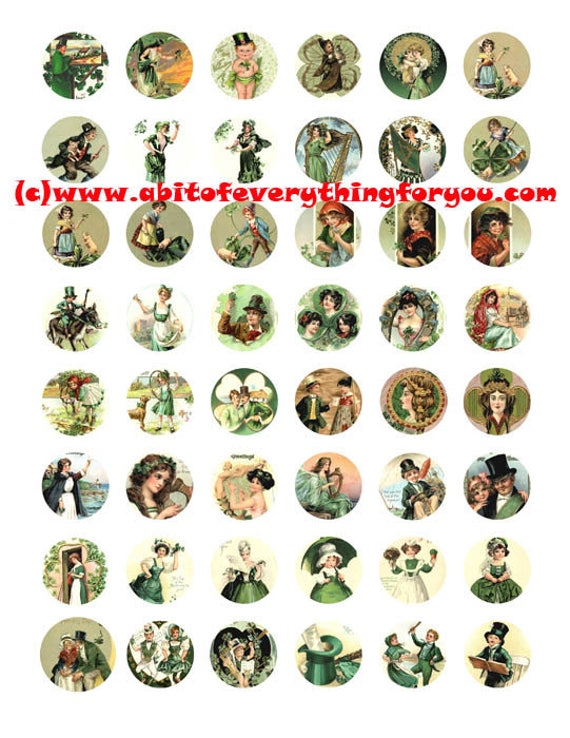 saint pattys day st patricks day irish clip art digital download collage sheet 1 inch circles vintage graphics images printables pendants