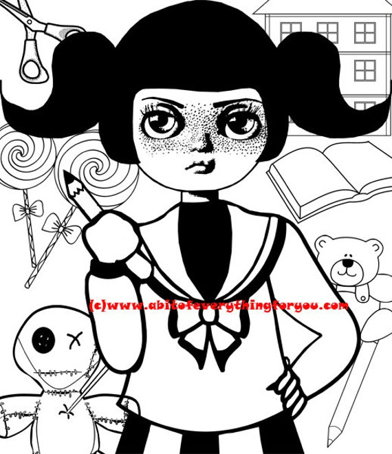 big eye school girl printable art print big eyes girl coloring page digital download image graphics instant downloadable black and white art