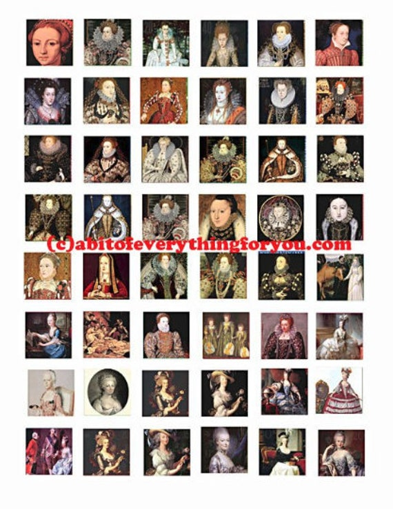 queen Elizabeth Marie Antoinette clip art digital download collage sheet 1 inch squares graphics people royalty images printables pendants