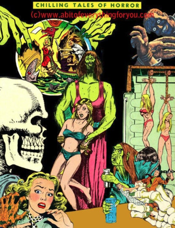 monsters women vintage horror comics montage original digital art download collage graphics printable art prints