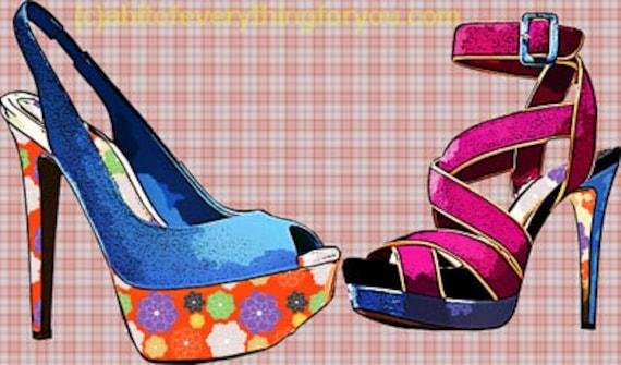 blue pink ladies high heel shoes art clipart download digital image graphics printable fashion artwork home decor living room bedroom art