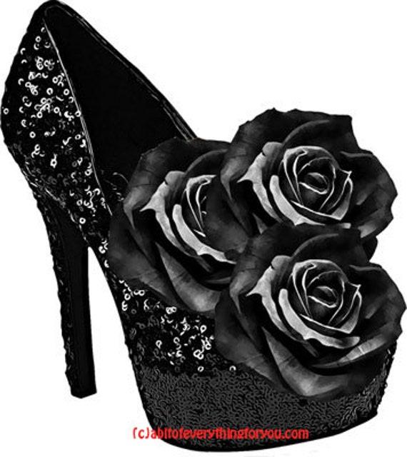 black rose flowers sparkly high heel shoes art clipart png download digital image graphics printable downloadable goth fashion artwork