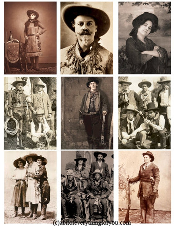 antique 1800s 1900s cowboy cowgirl photographs collage sheet printable digital download images pictures Billy the kid Calamity Jane,