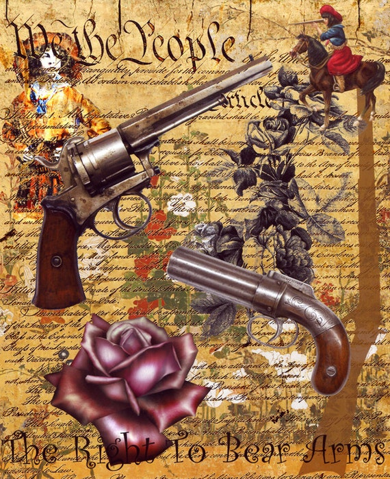 american constitution guns roses original digital art print cowboy art, country & western, right to bear arms, vintage ephemera, modern art