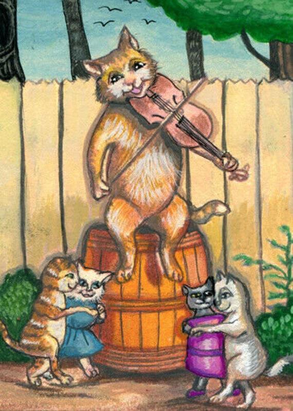 cat kittens dancing fiddle original aceo art painting animals miniature artwork