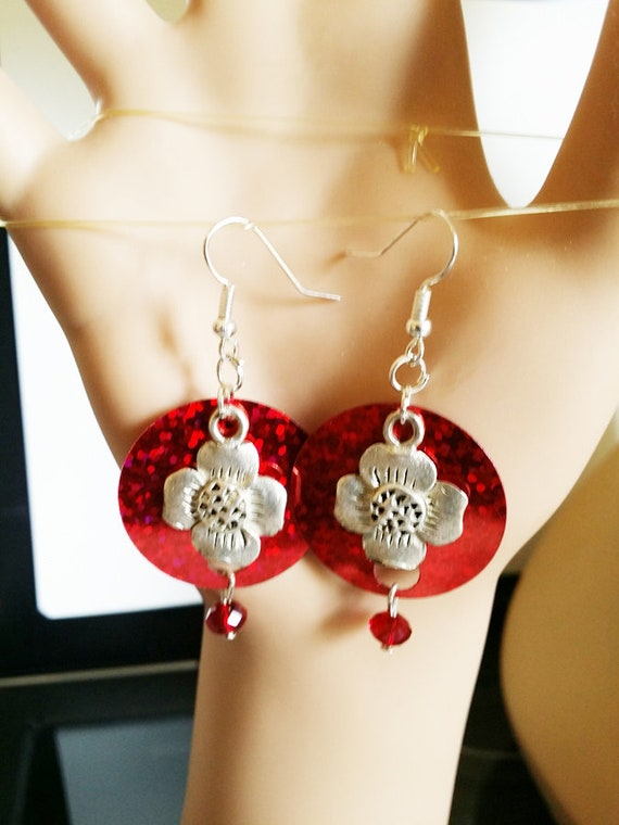 silver flower red sequins earrings dangle drops glass bead handmade sparkly party jewelry