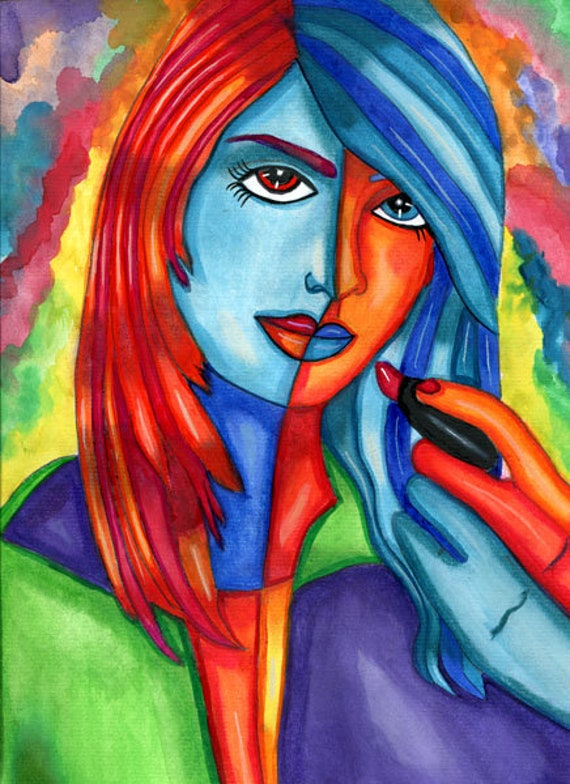 woman putting on lipstick abstract original art makeup beauty watercolor painting colorful pop artwork Elizavella