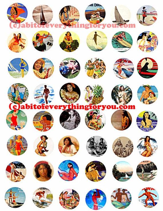 "hawaii hawiian hula girls printable collage sheet women men clipart digital download  1"" inch circle graphics travel poster images"