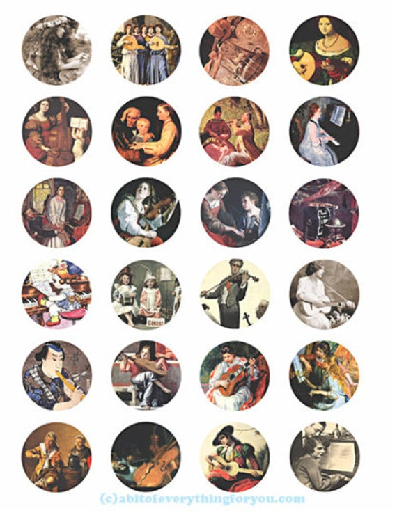 printable digital collage sheet downloadable vintage musicians musical instruments art clipart 1.5 inch circles images pendants diy jewelry
