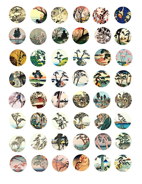 "trees landscape printable collage sheet japanese woodblocks art clipart digital download  1"" inch circles graphics nature images pendants"