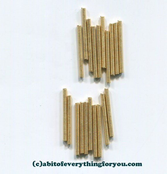metal tube beads spring beads bugle beads 12 piece 2mm x 25mm golden steampunk jewelry making supplies