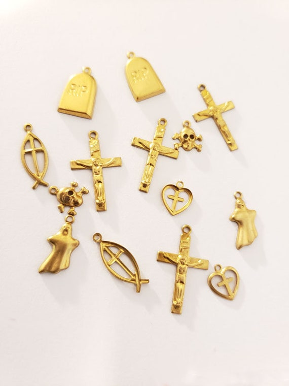 14 vintage gold brass metal goth charms skull cross gravestone jewelry making