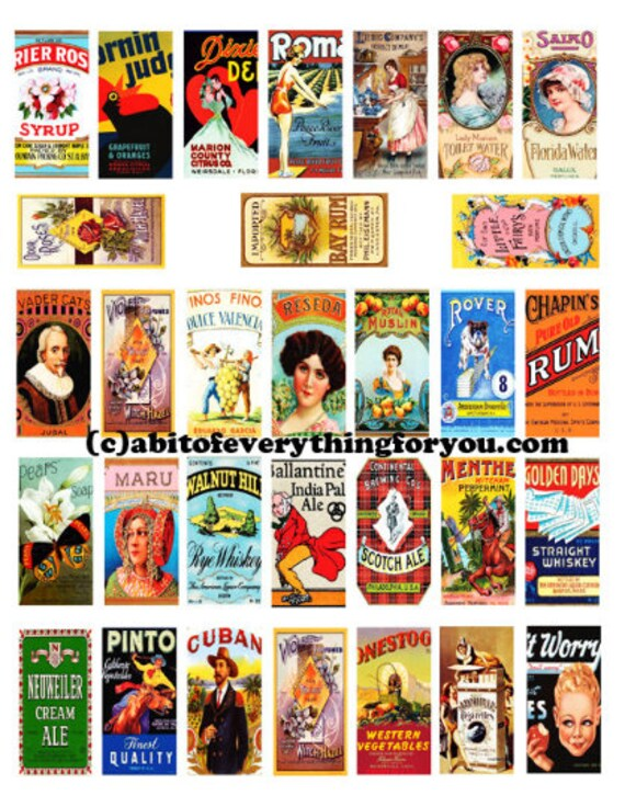 """vintage food product lables clipart digital download domino collage sheet 1"""" x 2"""" inch downloadable graphics vintage images printables"""