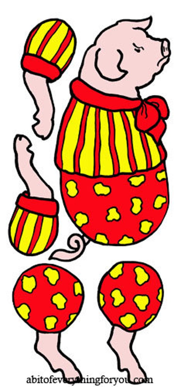 circus pig paper doll crafts clipart digital download images die cuts cut outs digital paper kids craft printables
