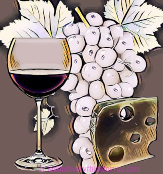wine glass cheese grapes abstract still life pop art printable digital download downloadable picture home living room dining room, bar decor
