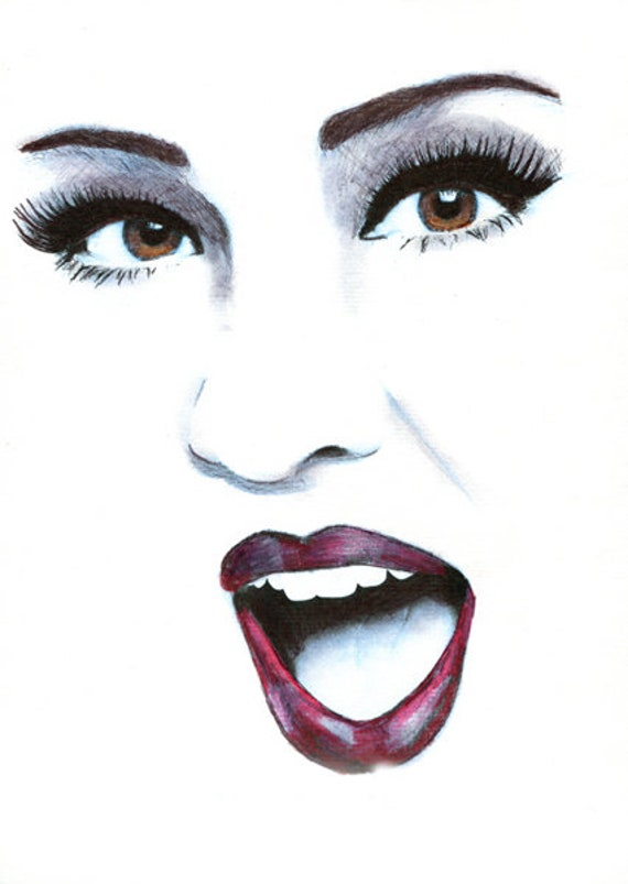 Woman singing face pencil original art drawing portrait brown eyes red lips makeup art original artwork