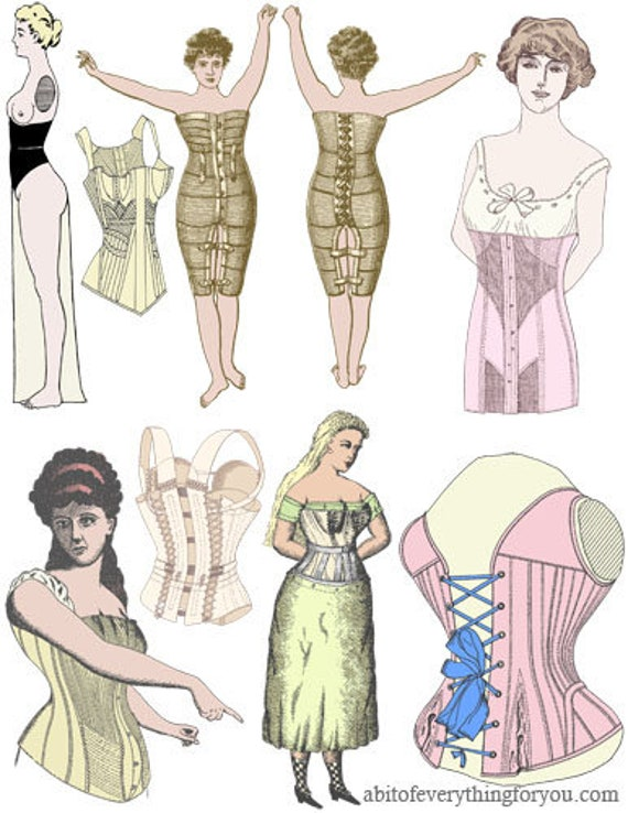 1800s US patents corset pinup girl paper doll set clothes printable png clipart digital download craft cut outs downloadable graphics images
