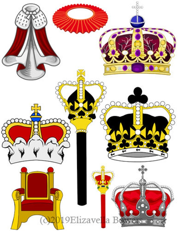 royal crowns scepters cape clipart collage sheet printable graphics digital download art die cuts scrapbooking craft cut outs
