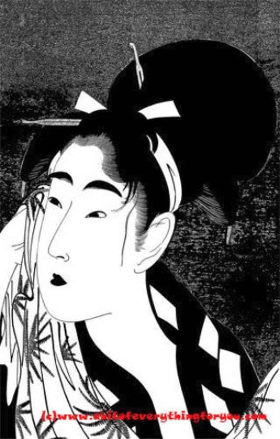 japanese geisha girl printable art print instant digital download image graphics asian woman black and white artwork