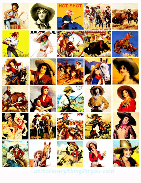 cowgirls pinup girls country western art collage sheet 1.5 inch squares clipart digital downloadable rodeo horses printable images