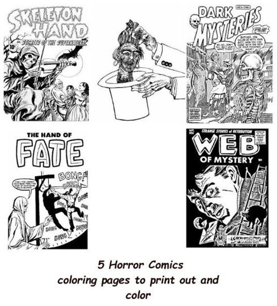 5 horror comics art coloring page printables digital download adult coloring pages zombies monsters image graphics digital stamps