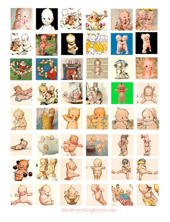 kewpie dolls art clipart clip art digital download collage sheet 1 inch squares graphics vintage images pendant jewelry making printables