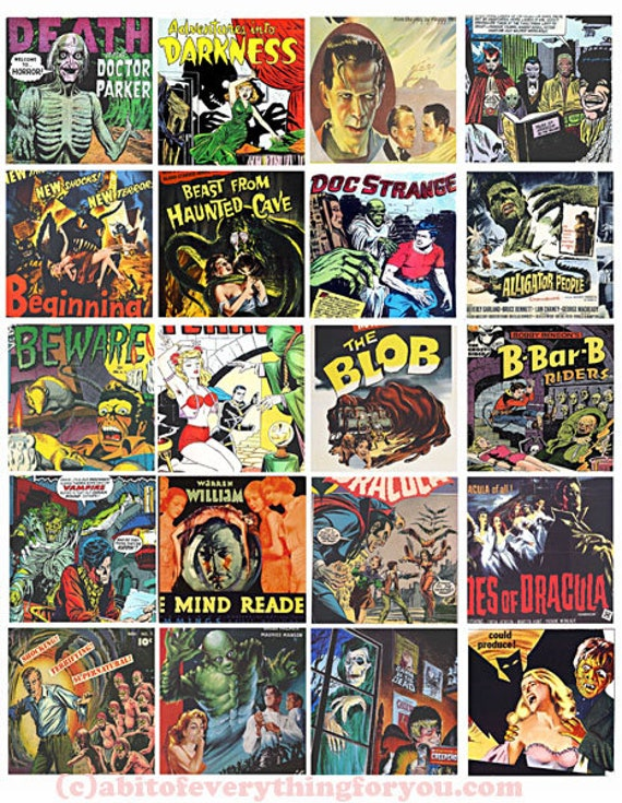vintage horror movies monsters creatures clip art collage sheet 2 inch squares digital instant download printable graphics images