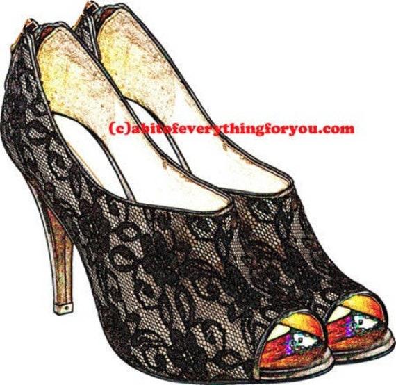 black lace high heel shoe clipart png printable art downloadable fashion art digital shoe image downloadable graphics diy crafts