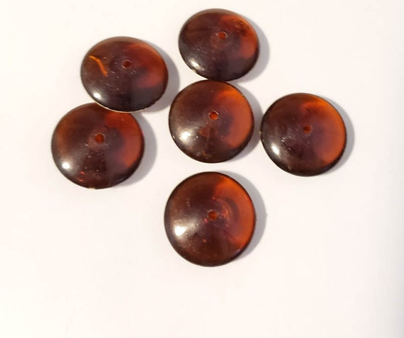 brown acrylic disc saucer beads plastic 6 pc big bead lot 20mm jewelry making