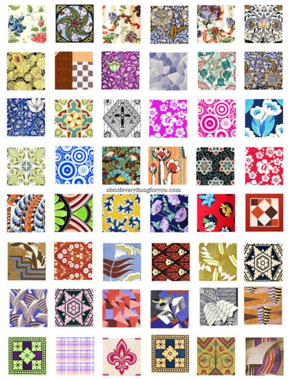 downloadable collage sheets vintage fabric textiles kimonos clip art download 1 inch squares printable  for pendants magnets, bezel settings