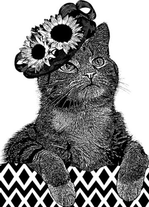 female Cat wearing sun flower hat original art print pets animals black and white ink style artwork